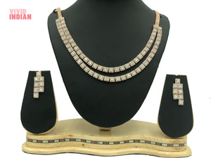 Square Cut Gems Motif Necklace Set
