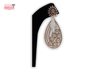 Teardrop Shaped American Diamond Gold Plated Earrings
