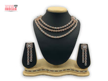Load image into Gallery viewer, Three Layered American Diamond Two Toned Geometrical Necklace Set