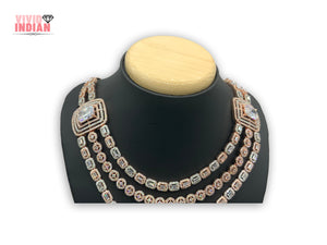 Three Layered American Diamond Two Toned Geometrical Necklace Set