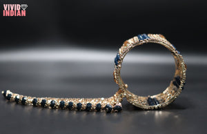 Traditional Royal Blue Beaded Gold Bracelet With Latkan
