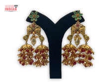Load image into Gallery viewer, Twin Elephants Gold Plated Earrings With Red And White Pearl Danglers