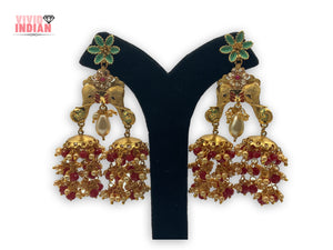 Twin Elephants Gold Plated Earrings With Red And White Pearl Danglers