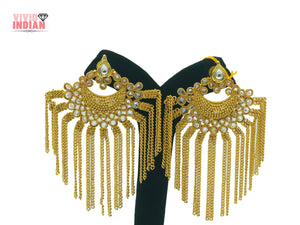 White Gems Adorned With Golden Chain Dangling Earrings