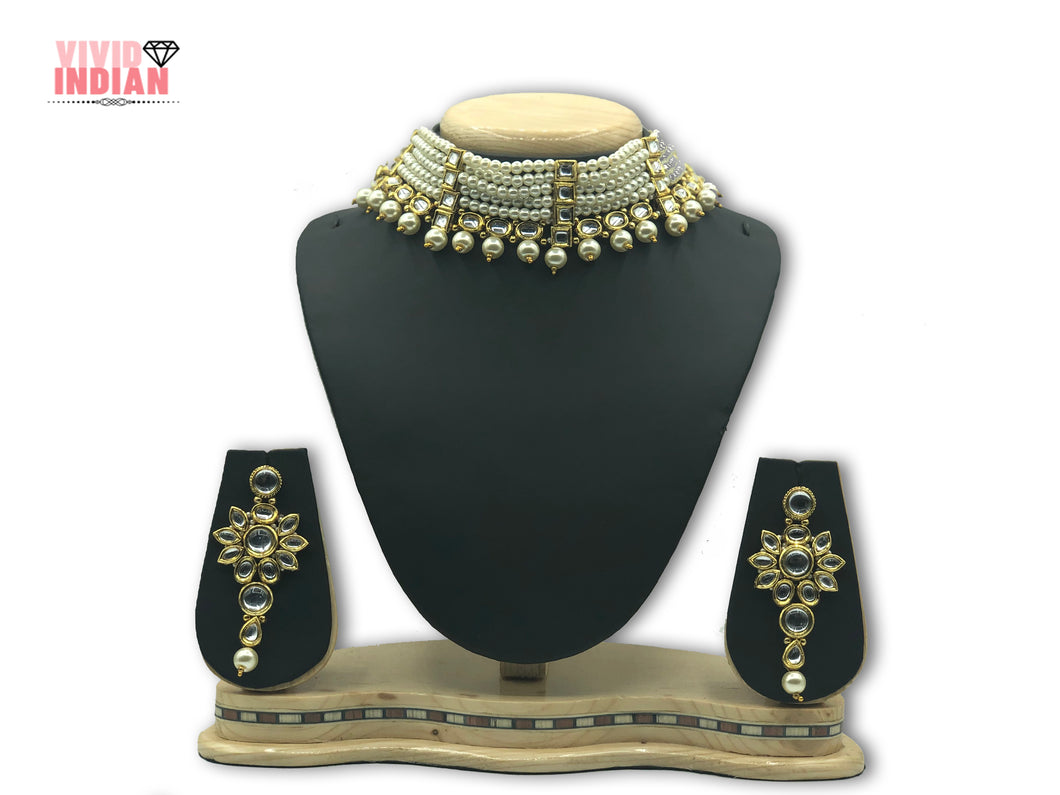 White Pearls Adorned Necklace Set