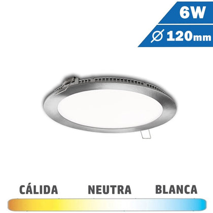 Panel LED Redondo Níquel Satinado 6W 120mm