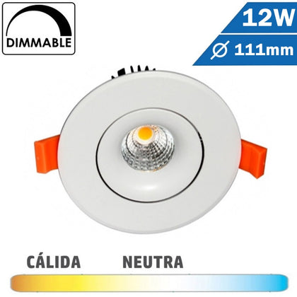 Empotrable COB 12W Regulable 111mm Diam Redondo Blanco