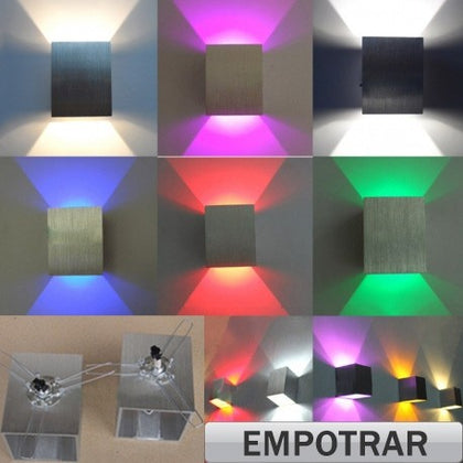 Aplique LED 3W Luz Indirecta Colores Empotrar