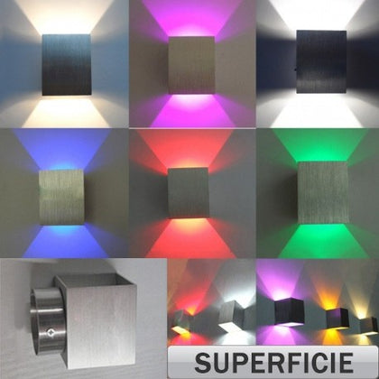 Aplique LED 3W Indirecta Colores Superficie