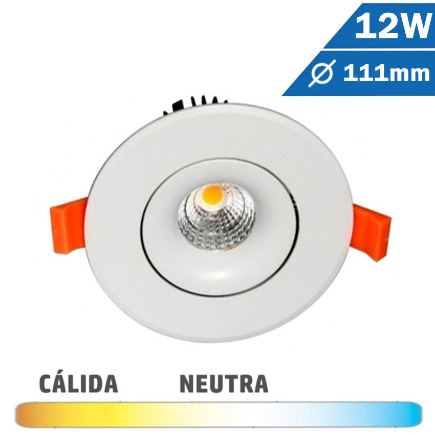Empotrable LED COB 12W 111mm Diam Redondo Blanco