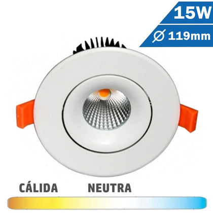 Empotrable LED COB 15W 119mm Diam Redondo Blanco