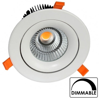 Empotrable COB 35W 180mm Diam Regulable Redondo Blanco Basculante