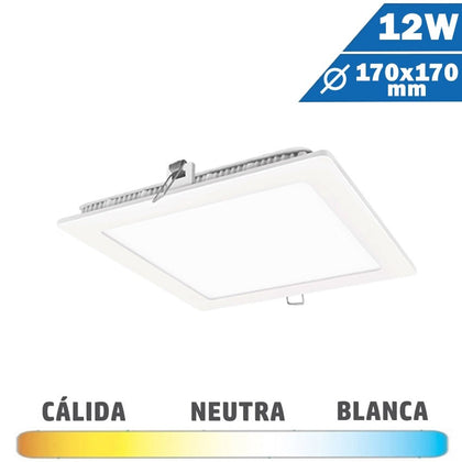 Panel LED Cuadrado Blanco 12W  170 x 170mm