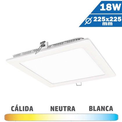 Panel LED Cuadrado Blanco 18W 225 x 225mm