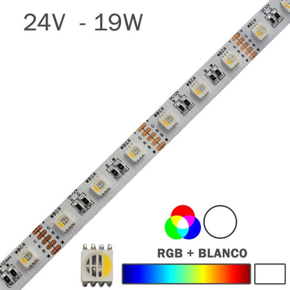 Tira LED 24V 19W 60LEDs/m RGB + Blanco IP20