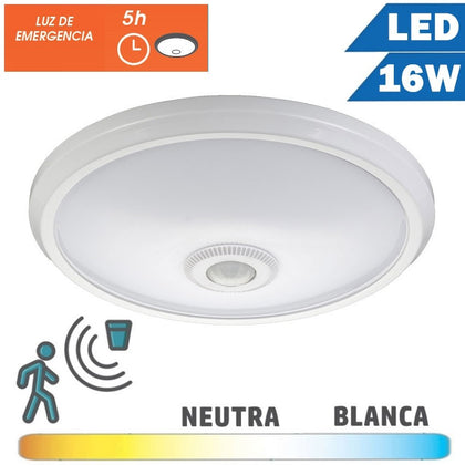 Plafón Superficie LED 16W Detector Movimiento Emergencia