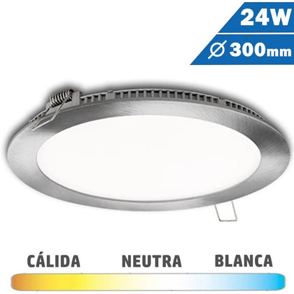 Panel LED Redondo Níquel Satinado 24W 300mm