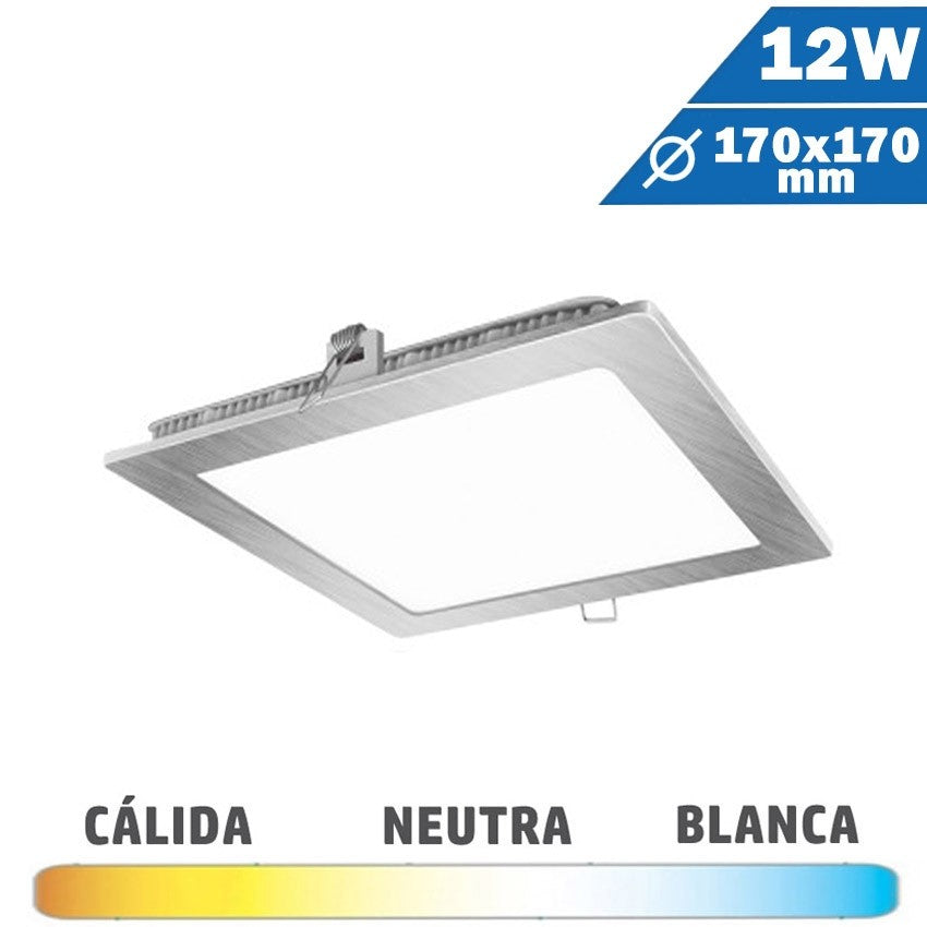 Panel LED Cuadrado Níquel 12W 170 x 170mm