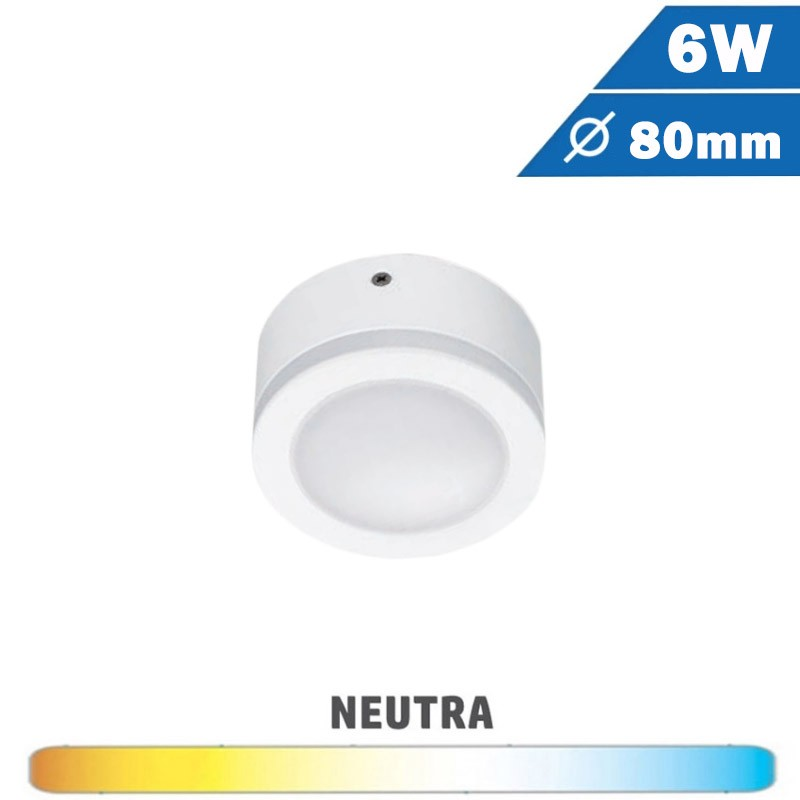 Plafón Blanco Redondo 6W 80mm Borde Tira LED