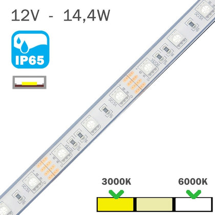 Tira LED Exterior 12V 14,4W 60 LEDs/m IP65