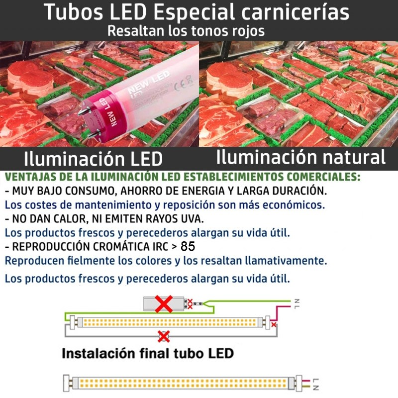 Tubo LED T8 10W 600mm Especial Carnes Pink