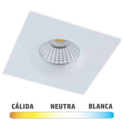 Downlight LED COB 7W Cuadrado 98x98mm Blanco Spot