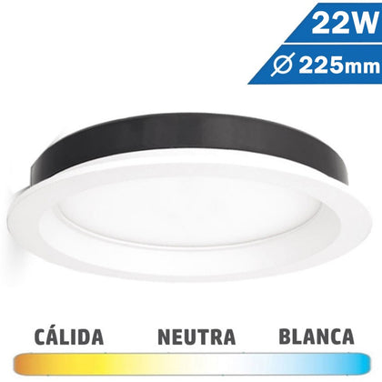 Downlight LED 22W Blanco 225mm Redondo