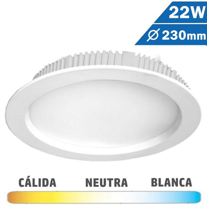 Downlight LED 22W 230mm Redondo Blanco
