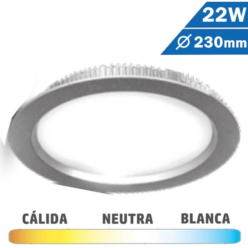 Downlight LED 22W 230mm Redondo Plata