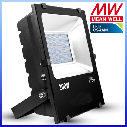 Proyector LED 200W Chip Osram Negro Meanwell