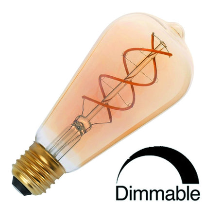 Bombilla LED E27 SP64 Filamento Espiral Ámbar E27 5W Regulable