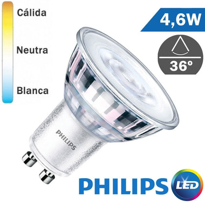 Bombilla LED Philips GU10 Core 4,6W 36º