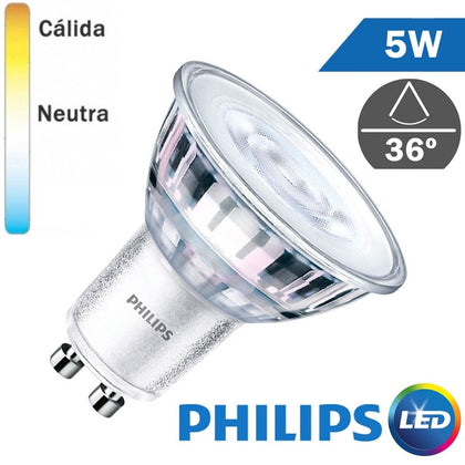Bombilla LED Philips GU10 Core 5W 36º