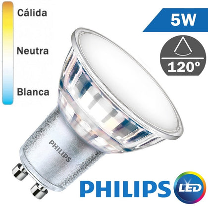 Bombilla LED Philips GU10 5W 120º