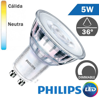 Bombilla LED Philips GU10 5W 36º Regulable