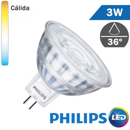 Bombilla LED 12V MR16 Philips 3W 36º