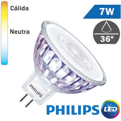 Bombilla LED 12V Philips MR16 7W 36º