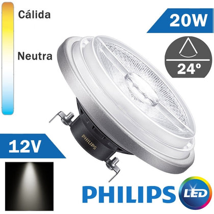 BOMBILLA LED 12V PHILIPS AR111 20W 24º