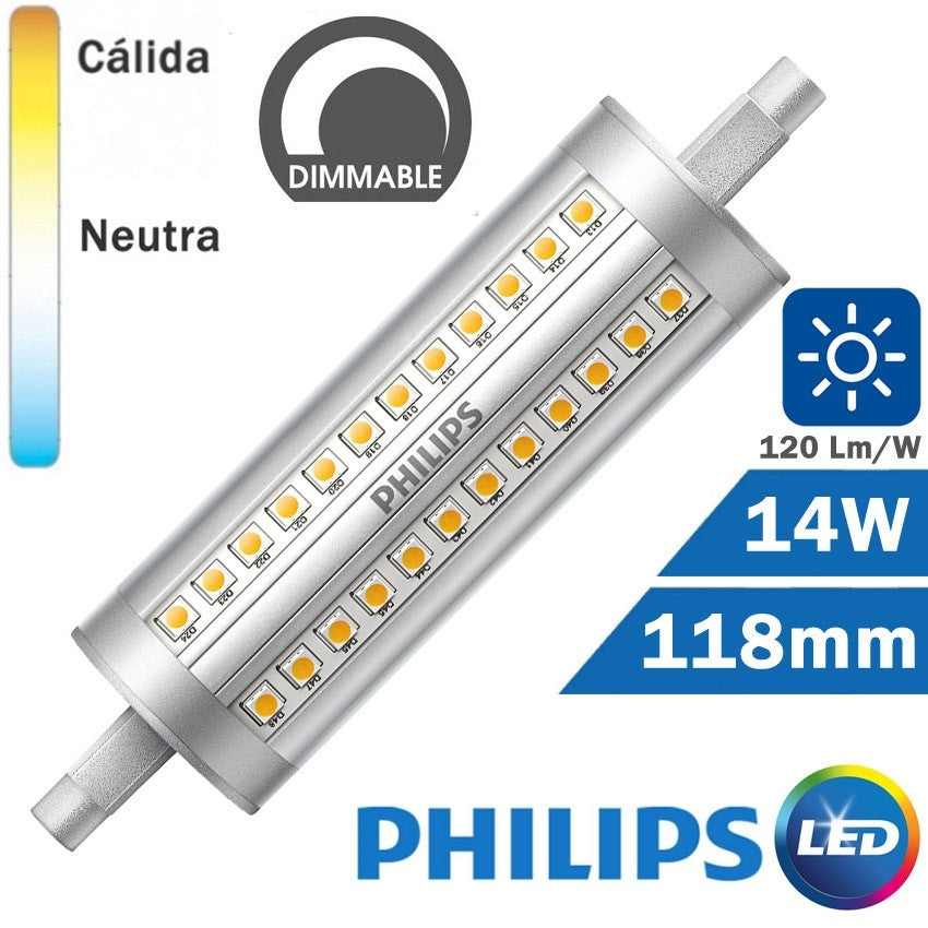 BOMBILLA LED R7s 118mm 14W 120Lm/W PHILIPS