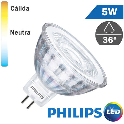 Bombilla LED 12V Philips MR16 5W 36º