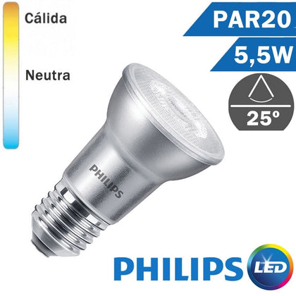 BOMBILLA LED E27 PHILIPS PAR20 5,5W 25º