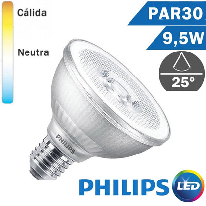 BOMBILLA LED E27 PHILIPS PAR30 9,5W 25º
