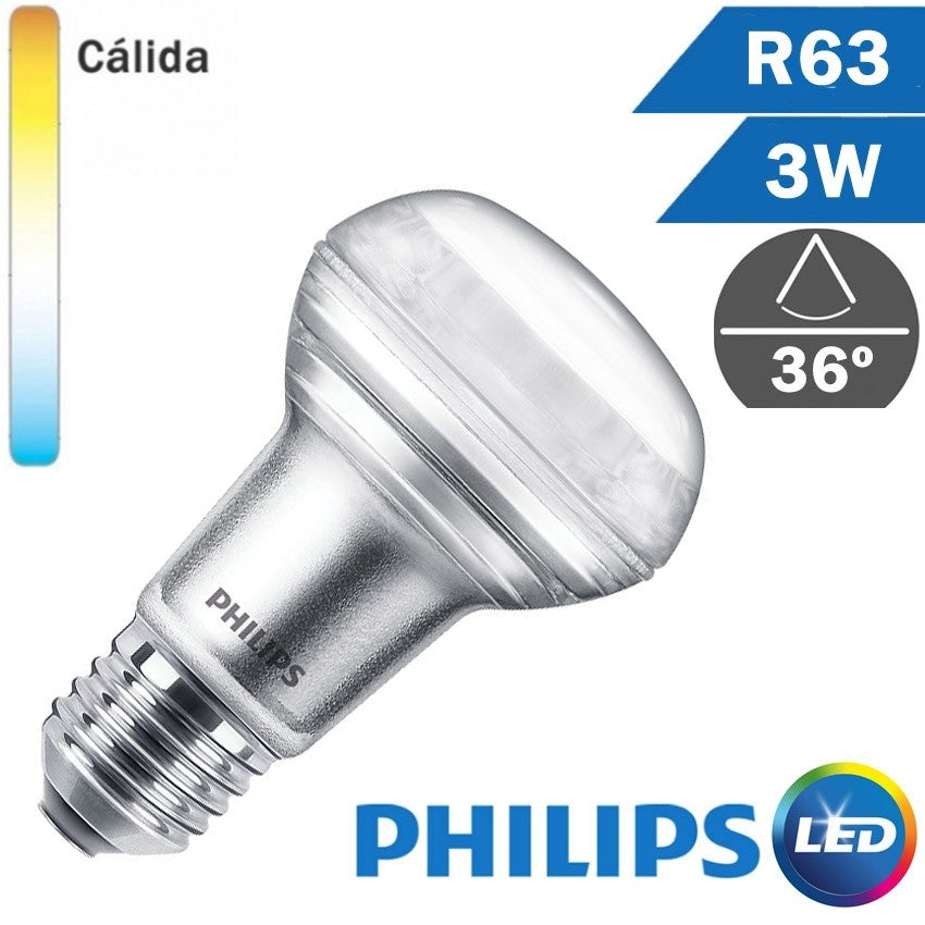 BOMBILLA LED E27 PHILIPS R63 3W