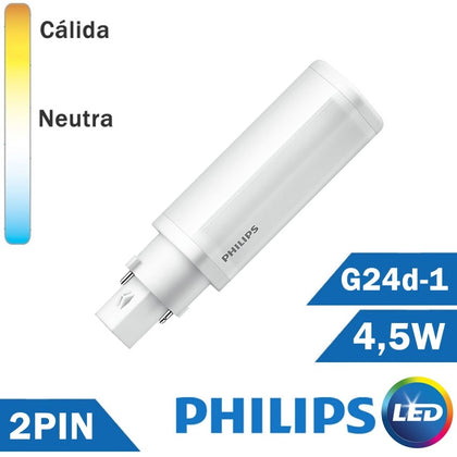 Bombilla LED Philips PL-C 4,5W 2 Pin G24d-1