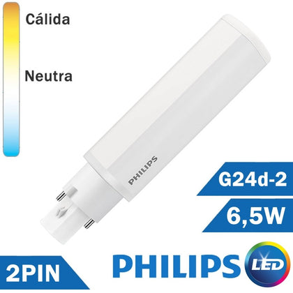 BOMBILLA LED PHILIPS PL-C 6,5W 2 PIN G24d-2
