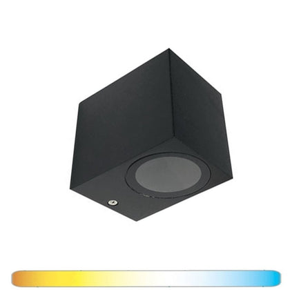 Aplique Pared 1 x GU10 Negro Luz Indirecta IP54