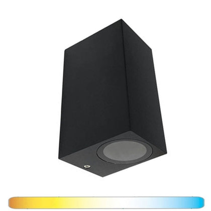 Aplique Pared 2 x GU10 Negro Luz Indirecta IP54