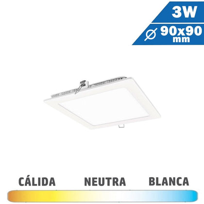 Panel LED Cuadrado Blanco 3W 90 x 90mm