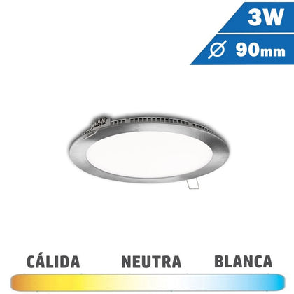 Panel LED Redondo Níquel Satinado 3W 90mm