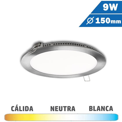 Panel LED Redondo Níquel Satinado 9W 150mm
